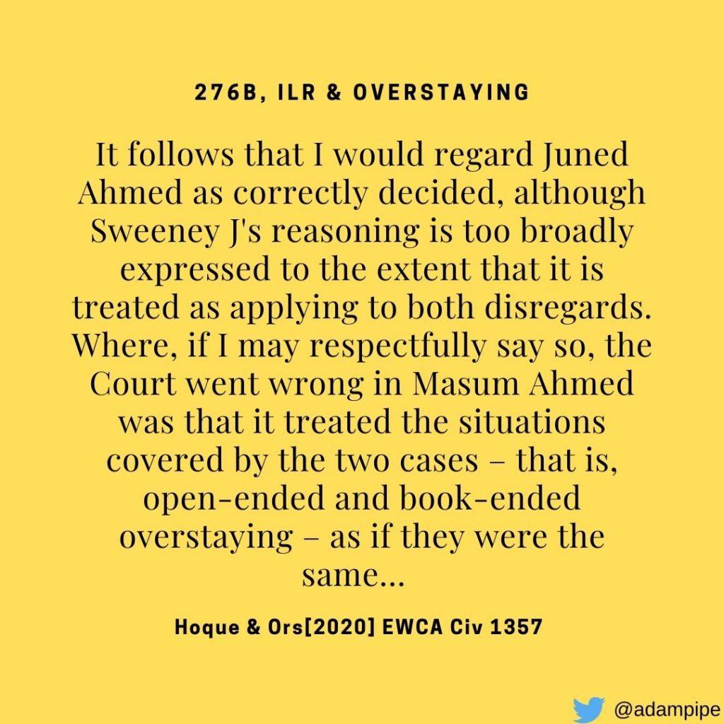 Hoque & Ors [2020] EWCA Civ 1357 - 276B, ILR & Overstaying